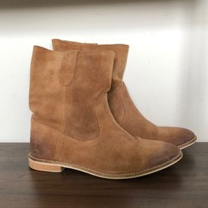 Tan Suede Slouch Western Boot